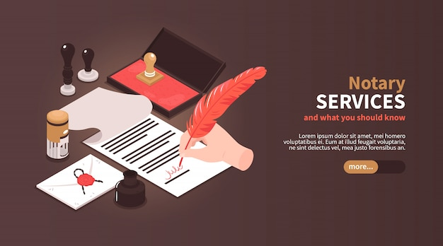 Isometric notary services horizontal banner with vintage workspace elements stamps and editable text with slider button