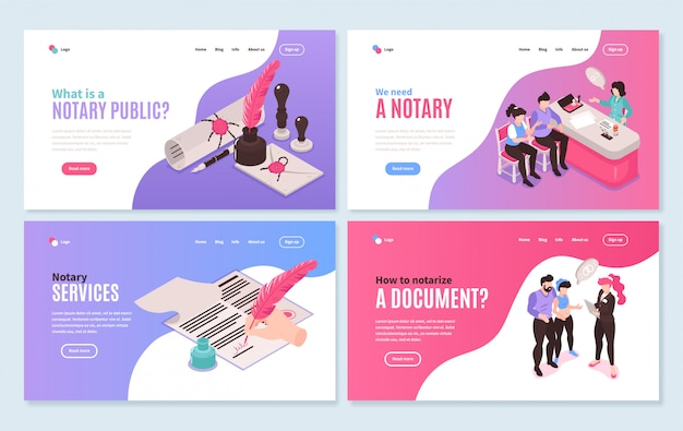 Isometric notary services horizontal banners collection with clickable links buttons and images of people and documents