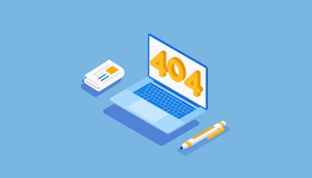 Изометрические цифры 404 с ошибками и ручкой