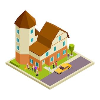 Изометрические вектор дом престарелых. концепция пожилых людей, идущих и говорящих