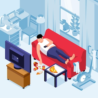 Isometric obesity composition with indoor view of living room with tv set and man on sofa