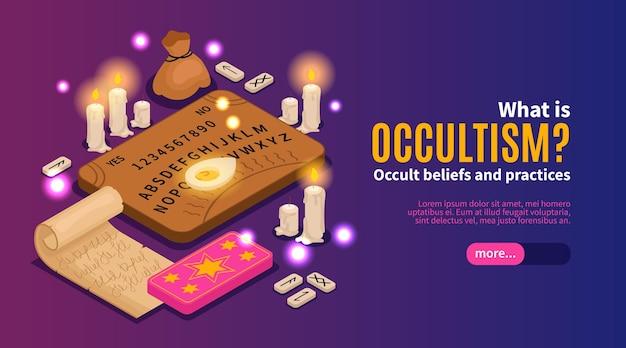 Изометрические оккультизм веб-баннер шаблон
