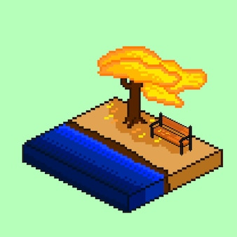 Изометрия осеннего дерева и скамейки в стиле пиксель-арт