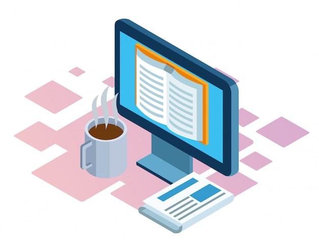 コンピューター、コーヒーのマグカップ、白い背景の上の新聞の等尺性