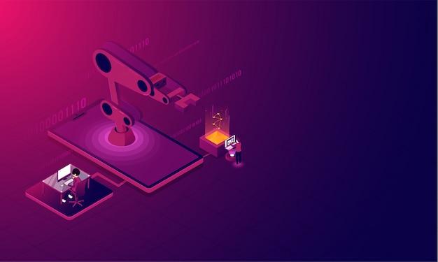 スマートフォンのクレーンの等角投影、分析の背景。