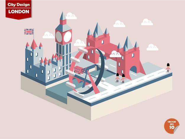 Изометрические города лондон, англия.