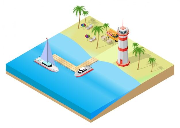 夏の熱帯のビーチの等尺性