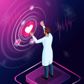 Изометрические врач диагностирует заболевание, назначает лекарство для лечения, следит за развитием лечения, проводит обзоры, работает с применением высоких технологий