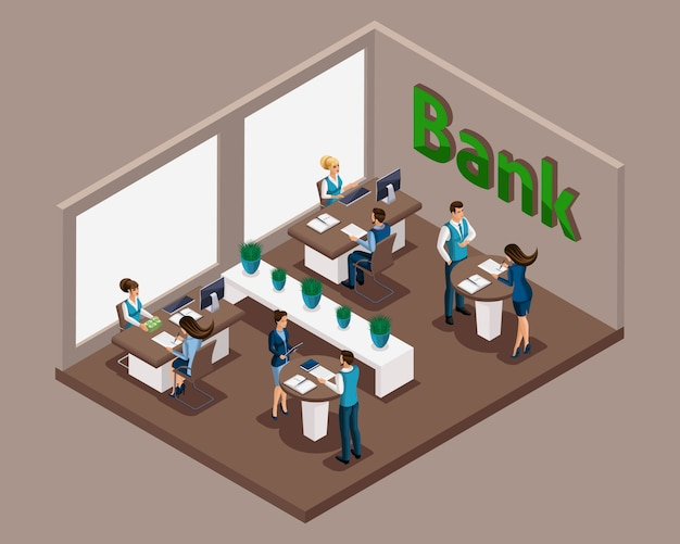 Isometric office of the bank, bank employees serve customers, issuance of loans, credit cards, deposits, bank cells. e-service