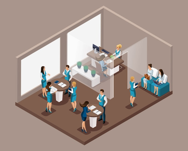 Isometric office of the bank, bank employees serve customers, issue credit, bank loans, borrowing. working schedule of the bank