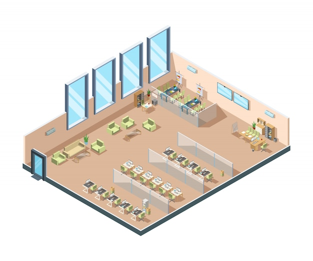 Isometric office. big corporate open working area building interior cabinets with tables chairs and equipment for managers