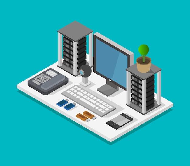 Isometric office desk