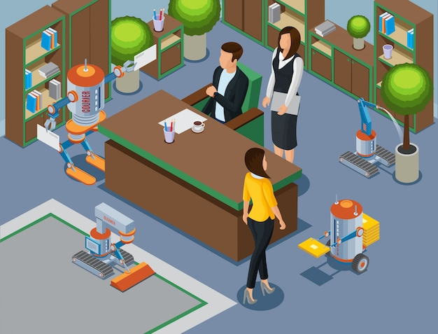Isometric office of future concept with business mechanical assistants and robots cleaning carpet pouring plant brought letters