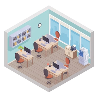 Isometric office interior composed from staff workplaces with desk chair computer and printer in cor