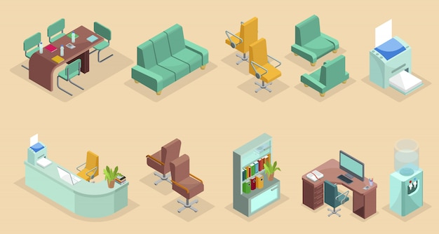 Isometric office interior elements set with chairs table sofa stationary bookshelf computer printer laptop water cooler isolated