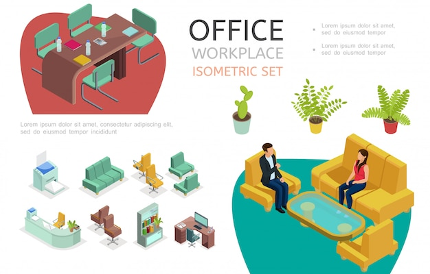 Isometric office interior elements set with workspace for negotiation and rest tables chairs bookcase printer sofa armchairs plants