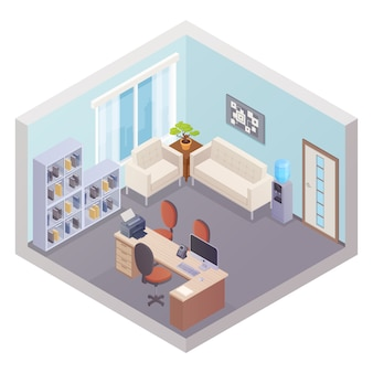 Isometric office interior with boss workplace shelves for documents cooler and zone for visitors vec