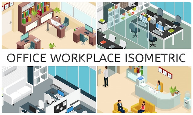 Isometric office interiors composition with different business workspaces furniture computers laptops printer water cooler clocks plants bookcase people reception