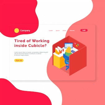 Isometric office landing page template