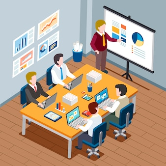 Isometric  - office meeting concept