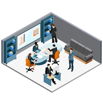 Isometric office meeting