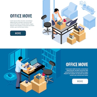 Isometric office move banners set of indoor scenes with people packing things more button and text illustration