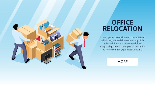 Isometric office move horizontal banner landing page