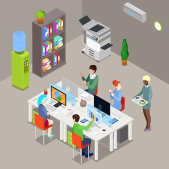 노동자와 컴퓨터 아이소 메트릭 사무실 열린 공간입니다.