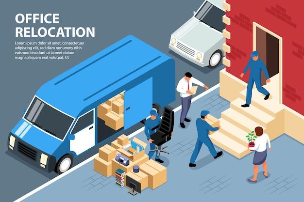 Illustrazione isometrica del trasferimento dell'ufficio