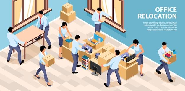 Isometric office relocation illustration