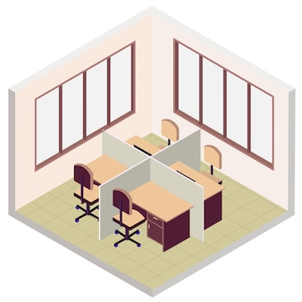 Isometric office room icon