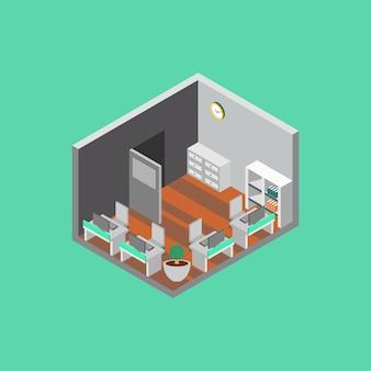 Isometric office room illustration