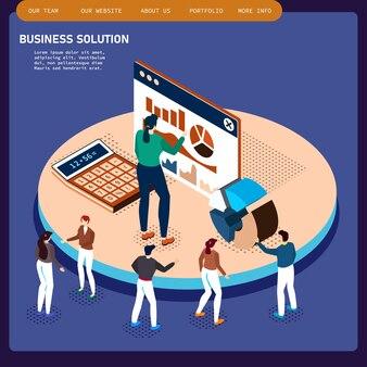 アイソメトリックオフィスルームインテリアビジネスマンコラボレーションチームワークブレーンストーミング。