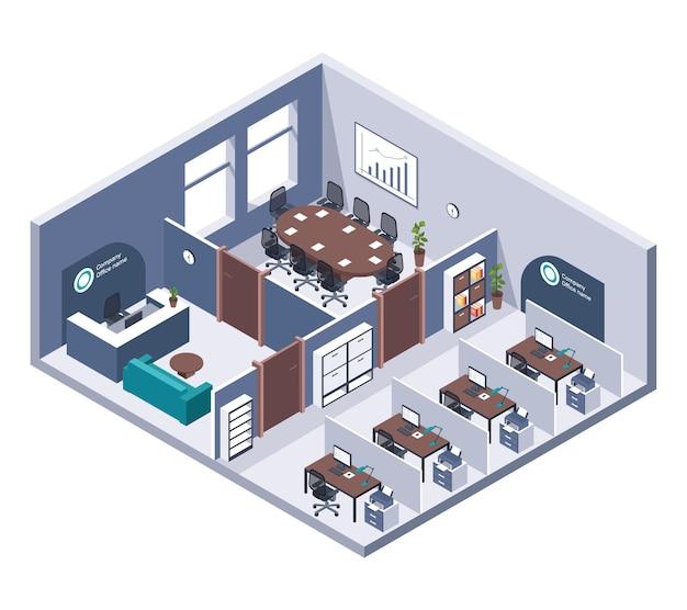 아이소 메트릭 사무실. 가구, 책상 및 컴퓨터, 프린터 및 리셉션이있는 객실 내부. 비즈니스 건물 장면 전환 3d 회사 직장입니다.