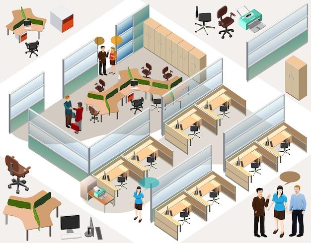 Изометрическая офисная комната с людьми