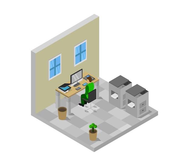 Изометрическая офисная комната