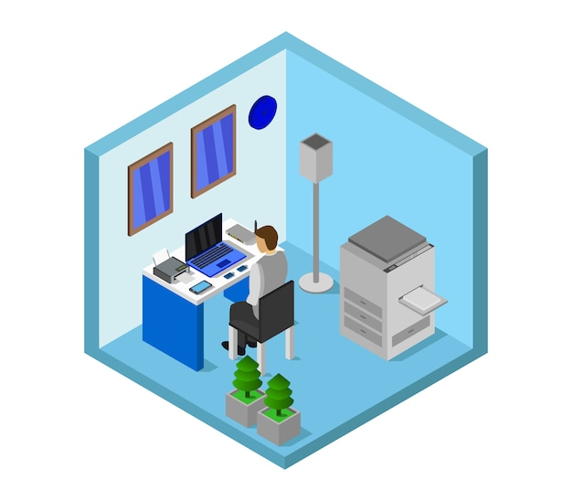 Isometric office room