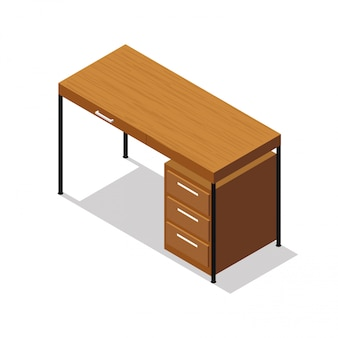 Isometric office table on white background.