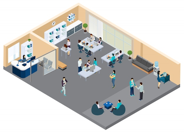 Isometric office with workers
