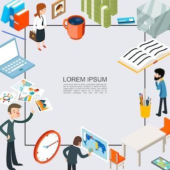 Изометрический шаблон офисной работы с деловыми людьми, ноутбук, деньги, стол, стул, часы, сейф, платежная карта, фоторамка, канцелярские товары, книги, папки для документов, иллюстрация,