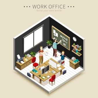 アイソメトリック-オフィス作業シーン