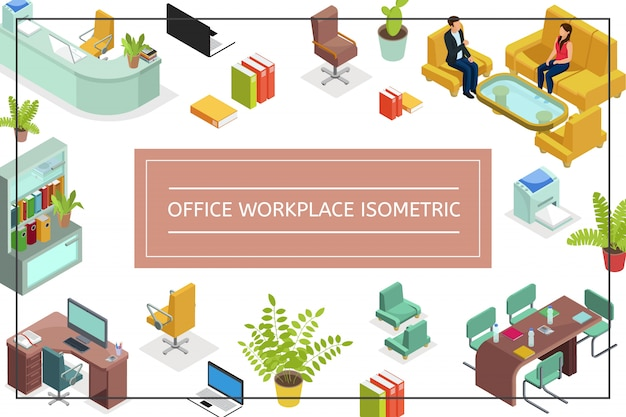 Isometric office workplace composition with chairs sofa tables armchair computer printer laptop plants bookcase talking people file folders