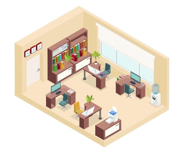 Изометрическая концепция офиса на рабочем месте со столами, стульями, книжной полкой, компьютерами, часами для принтера, кулером для воды, изолированным