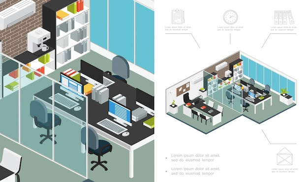 Isometric office workspace composition with furniture computer bookcase coffee machine conditioner plants desk negotiation room file folders clock document letter icons