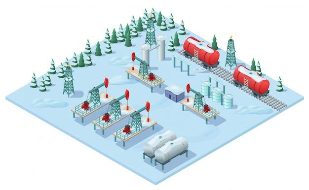 Modello di impianto di estrazione dell'olio isometrico
