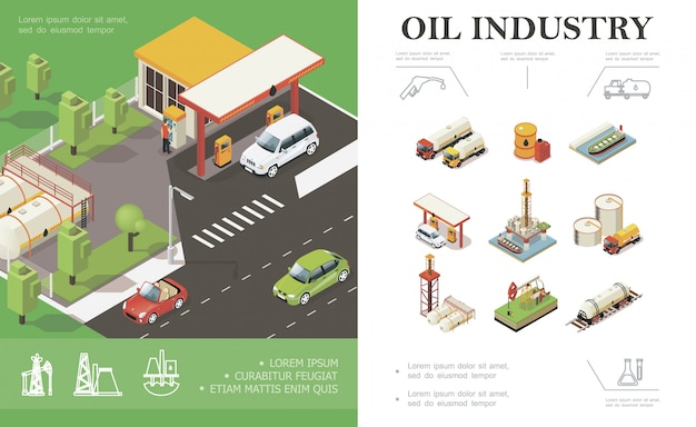 Isometric oil industry composition with cars on gas station trucks tanker water platform derrick drilling rig barrels cisterns canisters of petroleum