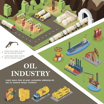 Isometric oil industry composition with tanker drilling rigs refinery plant pipeline valve trucks canisters cisterns barrels of petrol fuel nozzle