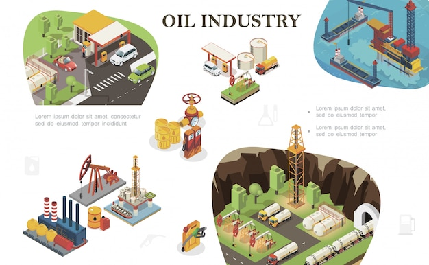 Isometric oil industry composition with tankers fuel station railway cisterns derrick drilling rig trucks canisters barrels of petroleum gas pipeline and valve