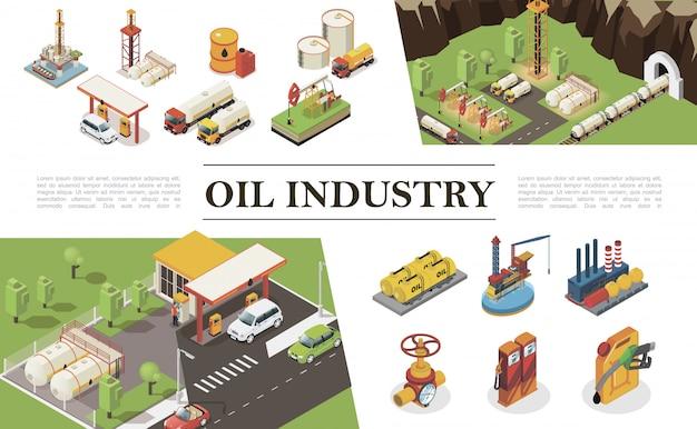 Композиция элементов изометрической нефтяной промышленности с заводской заправочной станцией и буровыми вышками, буровыми установками, водяными платформами, канистрами, бочками, цистернами с нефтью.