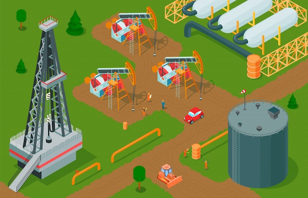 Isometric oil industry horizontal composition with petroleum production facilities storage and factory buildings with pump jacks